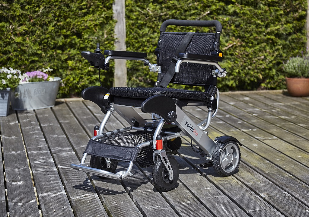 Foldalite powered electric wheelchair