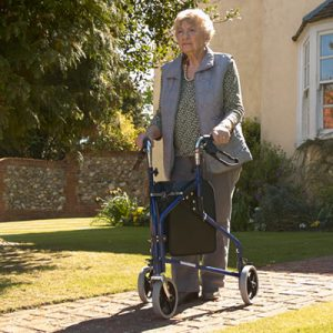 Woman with Tri Walker / 3 wheel rollator