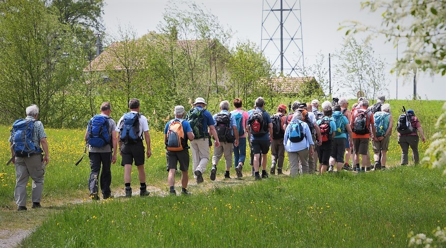 group walking rambling for older people and pensioners