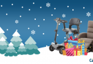 Christmas scene with mobility scooter and presents