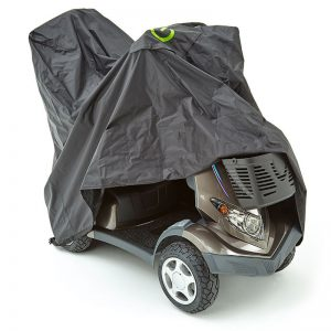 scooter cover protecting a mobility scooter