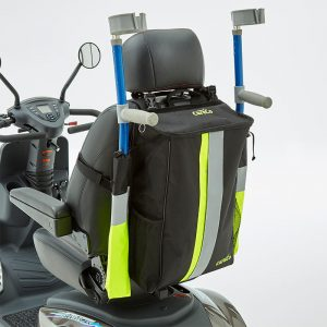 bag and can holder with reflective strips on mobility scooter