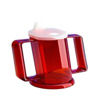 red adult easy drikning cup with handles and spout