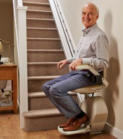 man on a stairlift
