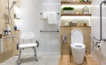 accessible bathroom with grab rails, shower chair