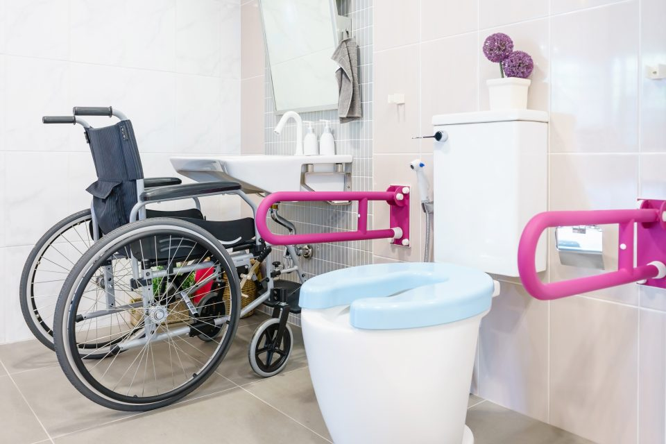 wheelchair at bathroom basin and toilet with hand rails