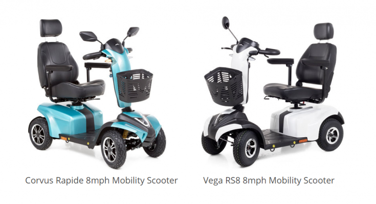 Corvus Rapide and Vega RS8 road mobility scooters