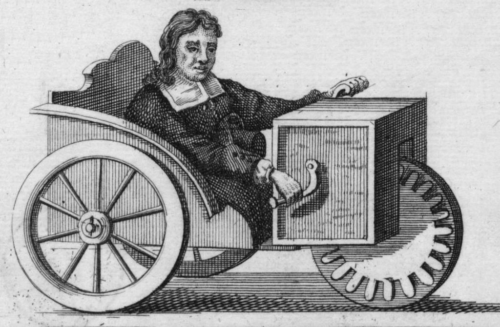 Engraving 1730 showing Stephan Fafler in his wheelchair