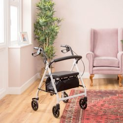 Secco 4 Rollator inside a room with a rug, plants and armchair