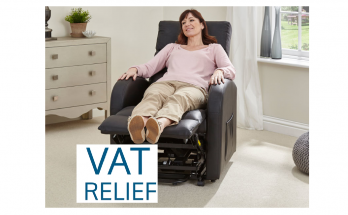 woman sitting in recliner chair - with VAT relief