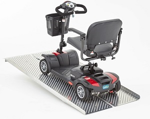 mobility scooter on a ramp