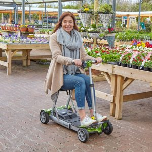 mobllity scooter in garden centre